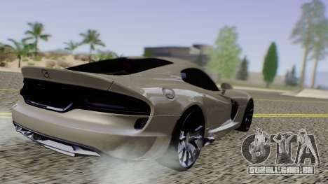 Dodge Viper SRT GTS 2013 Road version para GTA San Andreas traseira esquerda vista