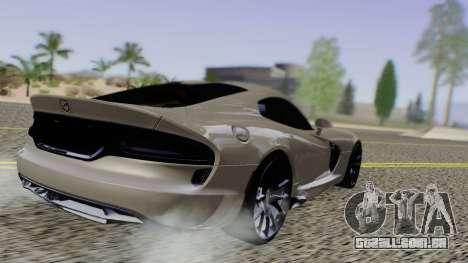Dodge Viper SRT GTS 2013 Road version para GTA San Andreas traseira esquerda vista