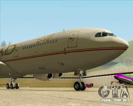 Airbus A340-313 Etihad Airways para GTA San Andreas vista interior