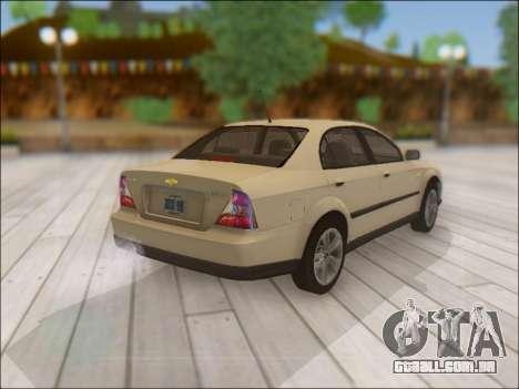 Chevrolet Evanda para GTA San Andreas vista traseira