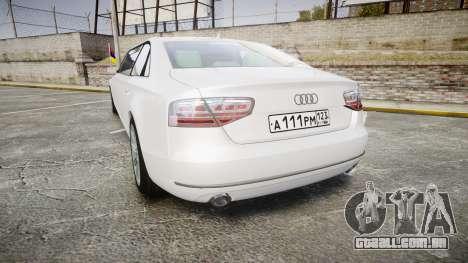 Audi A8 Limousine para GTA 4 traseira esquerda vista