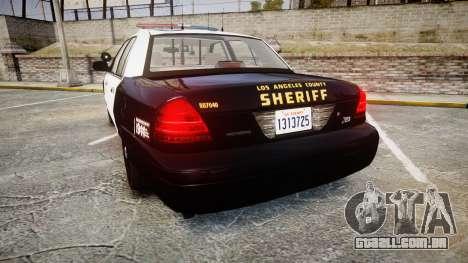 Ford Crown Victoria LASD [ELS] Marked para GTA 4 traseira esquerda vista