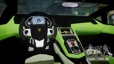 Lamborghini Aventador 50th Anniversary Roadster para GTA 4 vista interior