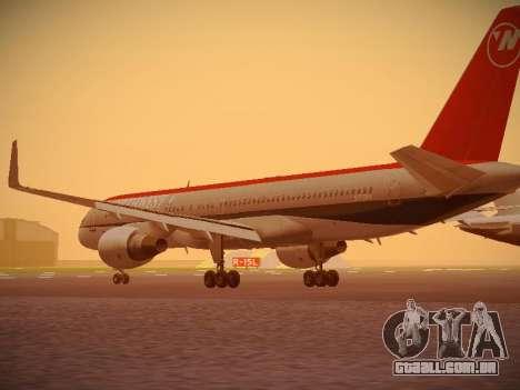 Boeing 757-251 Northwest Airlines para GTA San Andreas traseira esquerda vista