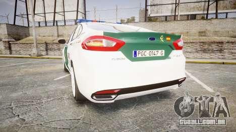 Ford Mondeo 2014 Guardia Civil Cops [ELS] para GTA 4 traseira esquerda vista