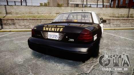 Ford Crown Victoria LASD [ELS] Slicktop para GTA 4 traseira esquerda vista