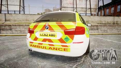 BMW 530d F11 Ambulance [ELS] para GTA 4 traseira esquerda vista