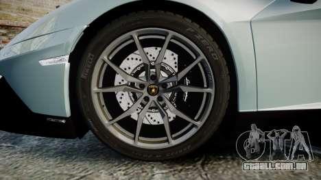Lamborghini Aventador 50th Anniversary Roadster para GTA 4 vista de volta
