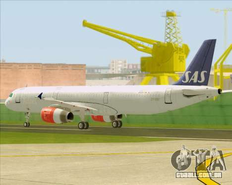 Airbus A321-200 Scandinavian Airlines System para GTA San Andreas vista superior