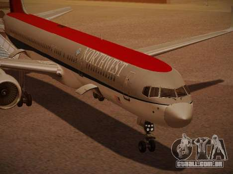 Boeing 757-251 Northwest Airlines para GTA San Andreas vista inferior