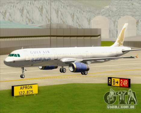Airbus A321-200 Gulf Air para GTA San Andreas vista inferior
