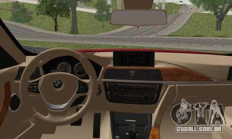 BMW 3 Series F30 2013 para GTA San Andreas traseira esquerda vista