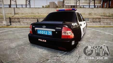 VAZ-2170 Priora Police para GTA 4 traseira esquerda vista