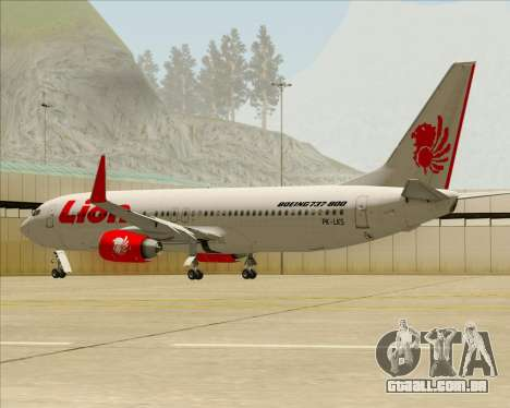 Boeing 737-800 Lion Air para as rodas de GTA San Andreas