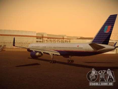 Boeing 757-224 United Airlines para GTA San Andreas traseira esquerda vista