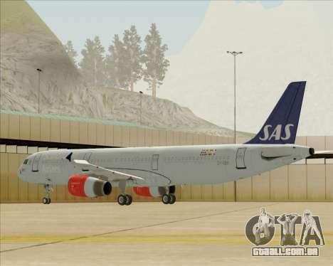 Airbus A321-200 Scandinavian Airlines System para GTA San Andreas traseira esquerda vista