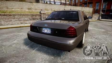 Ford Crown Victoria Unmarked Police [ELS] para GTA 4 traseira esquerda vista