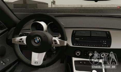 BMW Z4M Coupe 2008 Stock para GTA San Andreas traseira esquerda vista