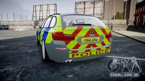 BMW 530d F11 Metropolitan Police [ELS] SEG para GTA 4 traseira esquerda vista