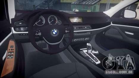 BMW 530d F11 Metropolitan Police [ELS] SEG para GTA 4 vista de volta