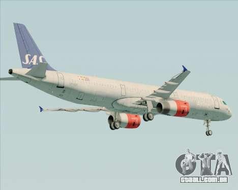 Airbus A321-200 Scandinavian Airlines System para GTA San Andreas vista traseira