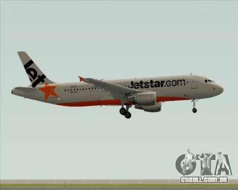 Airbus A320-200 Jetstar Airways para GTA San Andreas traseira esquerda vista