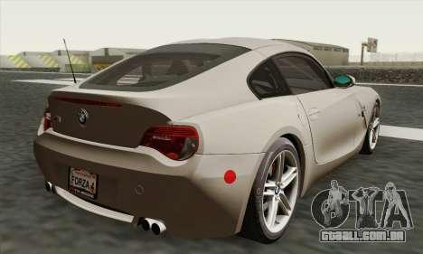 BMW Z4M Coupe 2008 Stock para GTA San Andreas esquerda vista