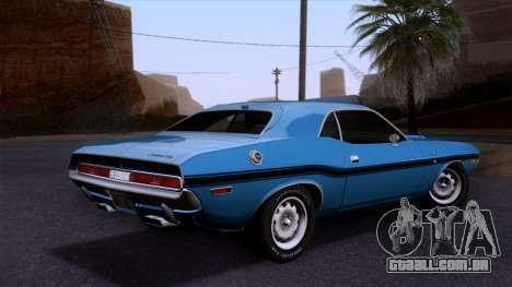 Dodge Challenger 426 Hemi (JS23) 1970 (HQLM) para GTA San Andreas esquerda vista