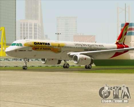 Airbus A321-200 Qantas (Wallabies Livery) para GTA San Andreas traseira esquerda vista
