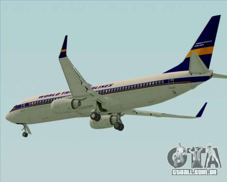 Boeing 737-800 World Travel Airlines (WTA) para GTA San Andreas traseira esquerda vista