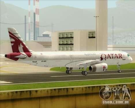 Airbus A321-200 Qatar Airways para GTA San Andreas traseira esquerda vista