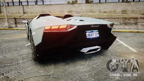 Lamborghini Aventador 50th Anniversary Roadster para GTA 4 traseira esquerda vista