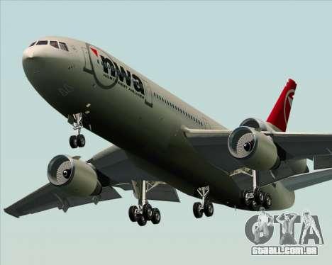 McDonnell Douglas DC-10-30 Northwest Airlines para GTA San Andreas vista traseira
