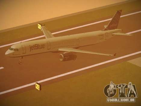 Airbus A321-232 jetBlue Red White and Blue para GTA San Andreas vista inferior
