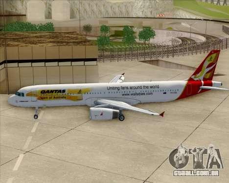 Airbus A321-200 Qantas (Wallabies Livery) para GTA San Andreas vista inferior