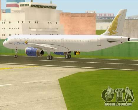 Airbus A321-200 Gulf Air para vista lateral GTA San Andreas
