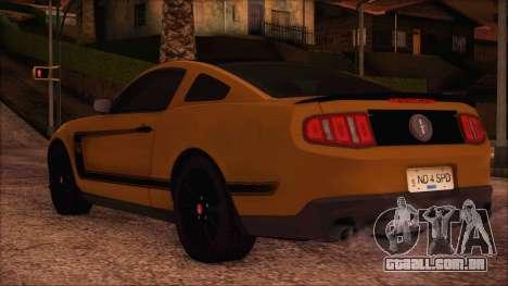 Ford Mustang Boss 302 2012 para GTA San Andreas esquerda vista