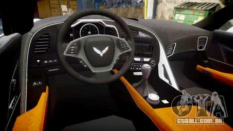 Chevrolet Corvette Z06 2015 TireBr2 para GTA 4 vista interior