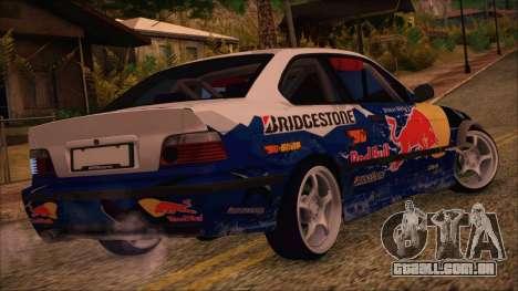 BMW E36 Coupe Bridgestone Red Bull para GTA San Andreas esquerda vista