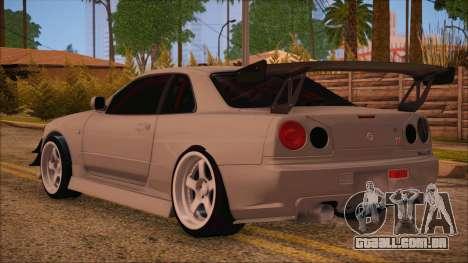 Nissan Skyline R34 GTR V-Spec 2 para GTA San Andreas esquerda vista