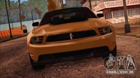 Ford Mustang Boss 302 2012 para GTA San Andreas traseira esquerda vista