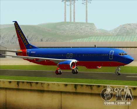Boeing 737-800 Southwest Airlines para vista lateral GTA San Andreas