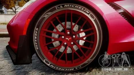 Chevrolet Corvette Z06 2015 TireMi2 para GTA 4 vista de volta