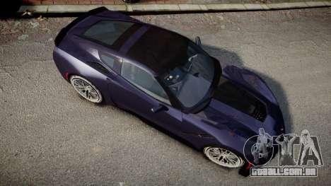 Chevrolet Corvette Z06 2015 TireMi4 para GTA 4 vista direita