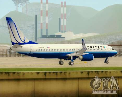 Boeing 737-800 United Airlines para GTA San Andreas vista inferior