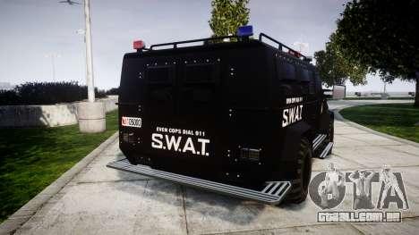 SWAT Van [ELS] para GTA 4 traseira esquerda vista