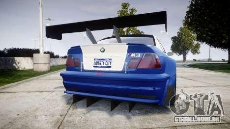 BMW M3 E46 GTR Most Wanted plate Liberty City para GTA 4 traseira esquerda vista