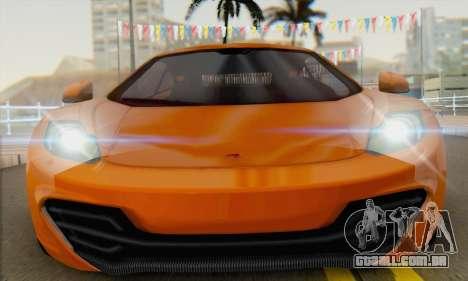 McLaren MP4-12C Gawai v1.4 para GTA San Andreas vista direita