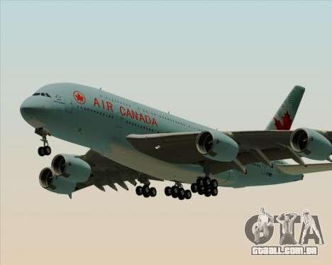 Airbus A380-800 Air Canada para GTA San Andreas traseira esquerda vista