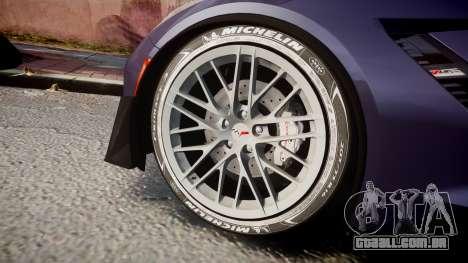 Chevrolet Corvette Z06 2015 TireMi4 para GTA 4 vista de volta